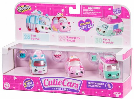 MOOSEFORMATEX SHOPKINS CUTIE CARS 3-pak, Frezzy Riders