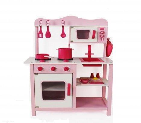 Lean Toys Kuchnia Drewniana Marta Różowa Mikrofalówka 2262